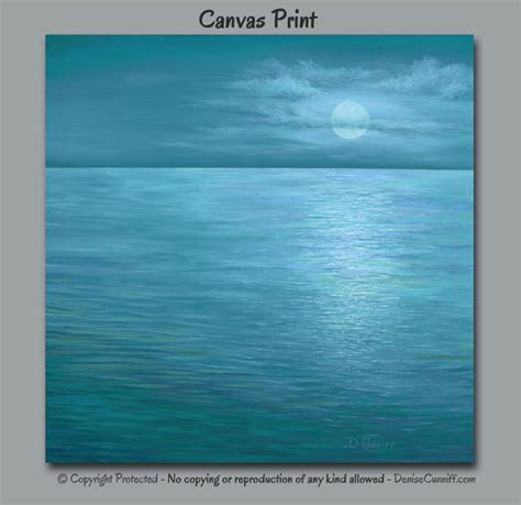 moon painting blue wall teal turquoise aqua seascape