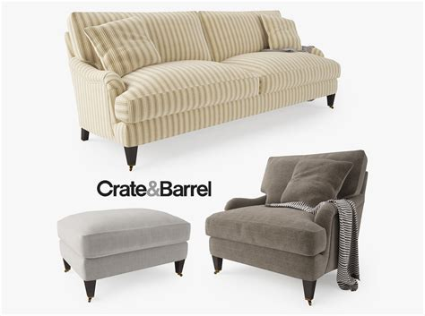crate barrel couch crate and barrel essex sofa collection 3d model max obj