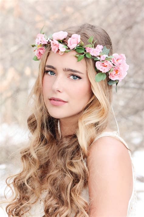 Flower Crown flower crown pink wreath bridal hair woodland wedding