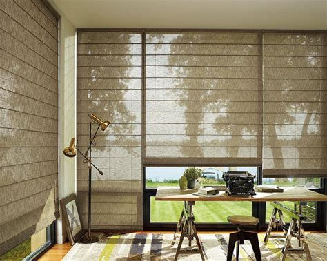 home office window treatments sunscreen roller blinds floor to ceiling windows drapes