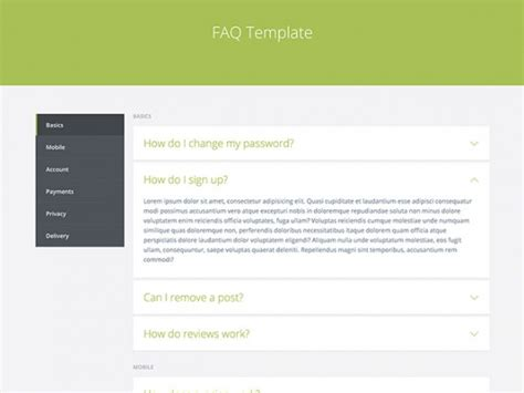 Html Design Templates by Faq Template Html Freebiesbug