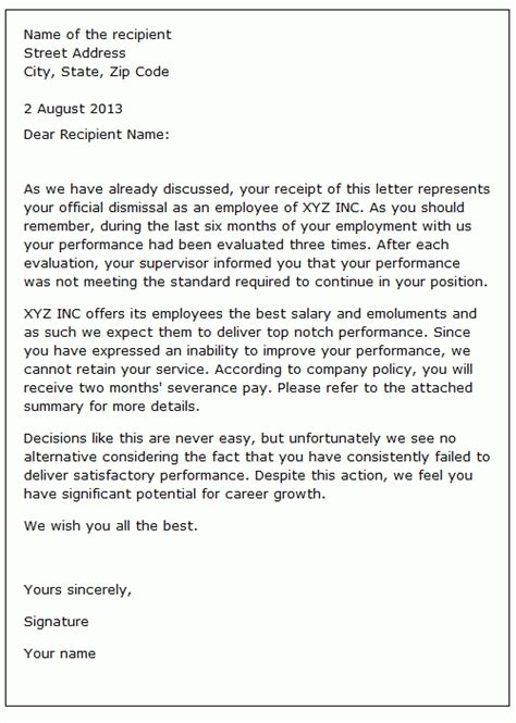 sample of agreement letter from employee new sample termination