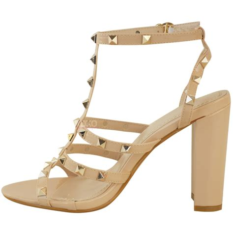 high strappy heels womens studded block high heels strappy