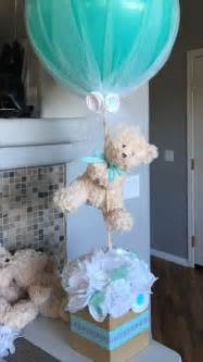 picture of teddy centerpiece for a boy baby shower