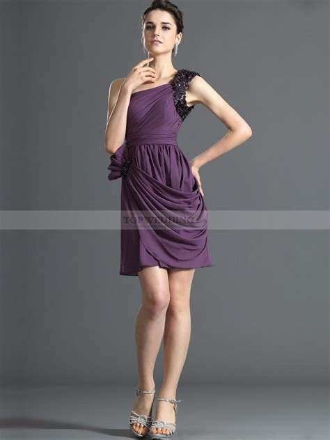 Two Side Draped Skirt sequined one shoulder side draped mini satin chiffon