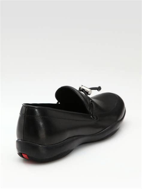 prada s loafers prada classic toggle loafer in black lyst