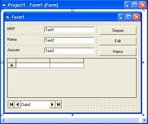 desain form vb aplikasi visual basic 6 0 pemrograman basic tutorial