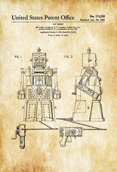 printable patent wall art robert the robot toy patent poster patent print wall