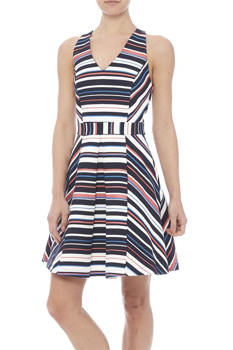 Adelyn Sabrina Dress B L F adelyn multicolored striped dress from san diego by