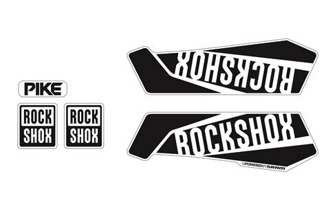 Rock Shox Logo Stickers by Commencal 2017 Rockshox Pike Sticker Kit Shiny Black