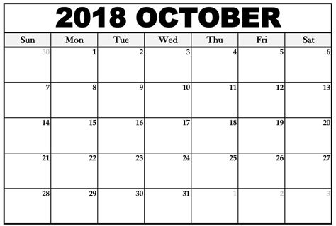 Galerry printable blank calendar oct 2018