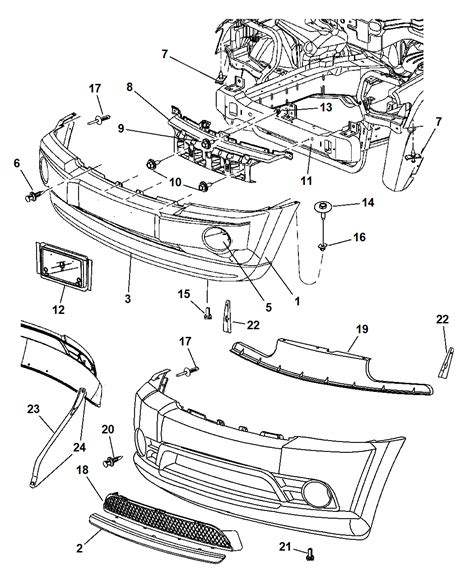 jeep grand parts diagram bumper front for 2007 jeep grand mopar parts