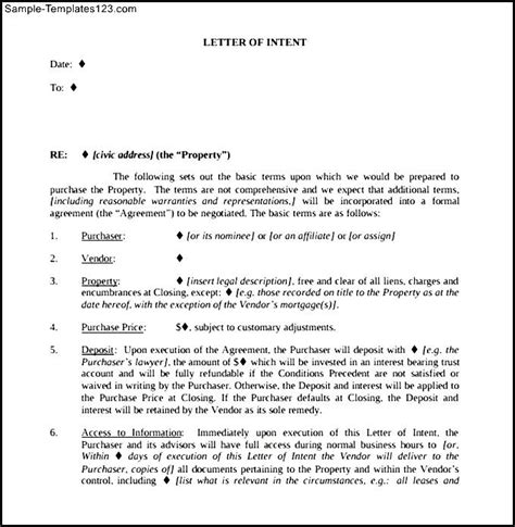 Commercial Lease Buyout Letter Commercial Real Estate Letter Of Intent Template Pdf Sle Templates