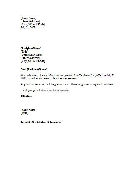 standard resignation letter template basic yet professional sle resignation letter template