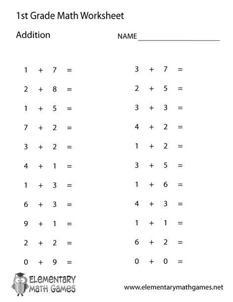 grade simple addition worksheet printable
