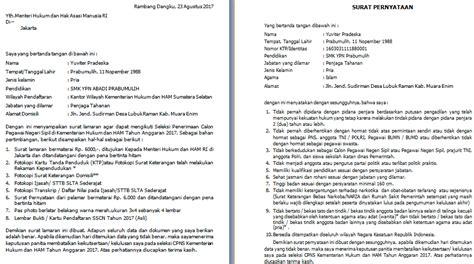 Contoh Surat Lamaran Kementrian Pendidikan by Contoh Surat Lamaran Dan Pernyataan Cpns Kemenkumham Sma