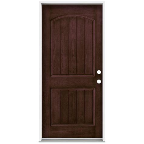 Jeld Wen Exterior Fiberglass Doors Jeld Wen 36 In X 80 In Architectural 2 Panel Arch Top Plank Stained Walnut Fiberglass Prehung