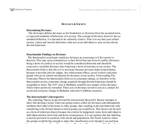 Crime And Essay Ideas by Deviance Sociology Essay Ideas