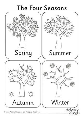 seasons coloring pages preschool four seasons colouring page coloring pages pinterest