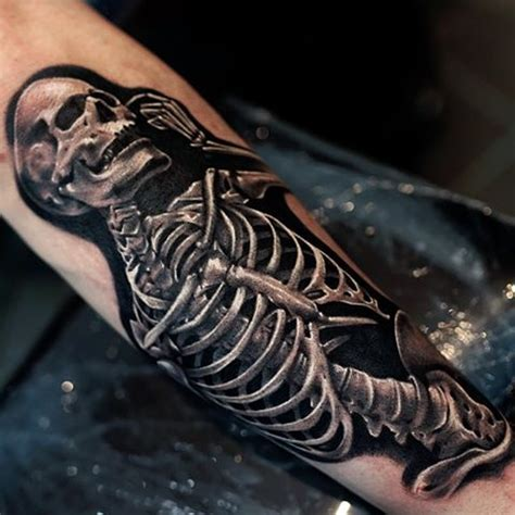 skeleton man tattoo arm sleeve skeleton uv for