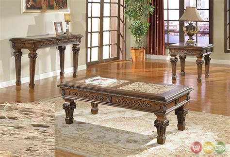 Marble Living Room Table Set Marble Top Cocktail End Tables Traditional Living Room 3 Table Set