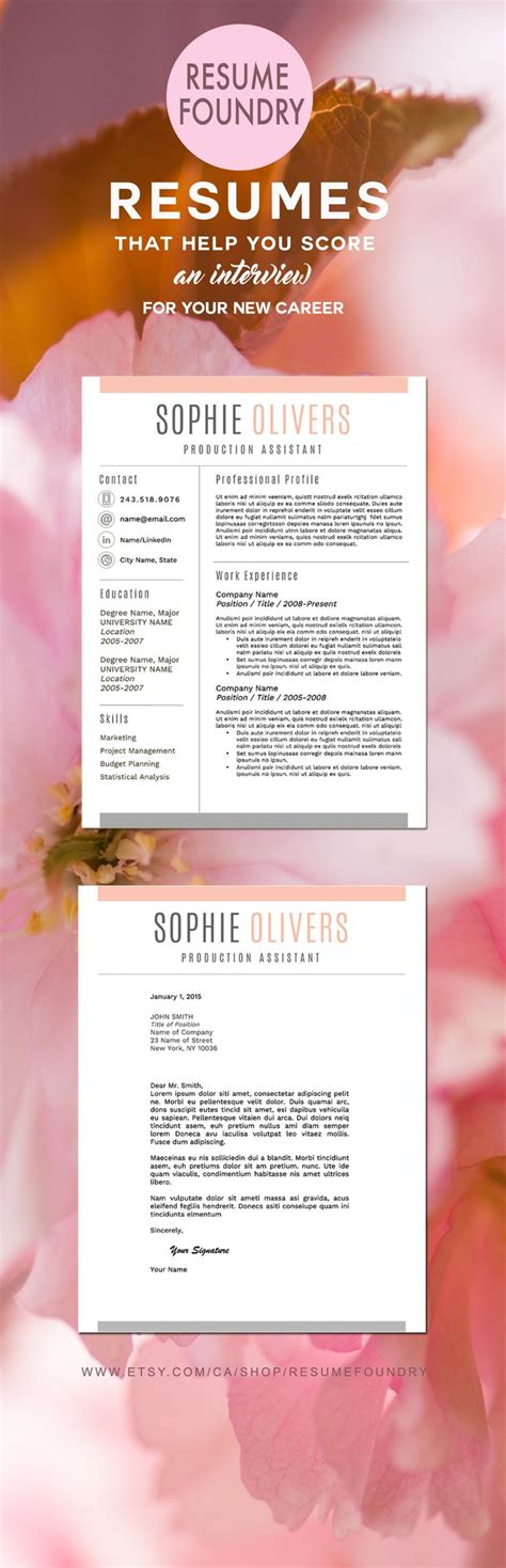 127 best resume templates etsy images on