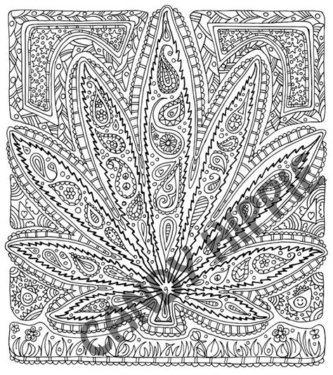 17 Best Images About Adult Coloring Therapy On Pinterest Trippy Pot Leaf Coloring Pages