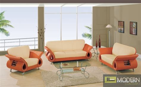 Orange And Beige Living Room by Modern Leather Sofa Seat Chair Living Room Set