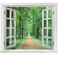 Decorative Window Decals For Home Green Woods 3d Window Diy Vinyl Wall Stickers Home Decor Living Room Sofa Wallpaper Muraltree