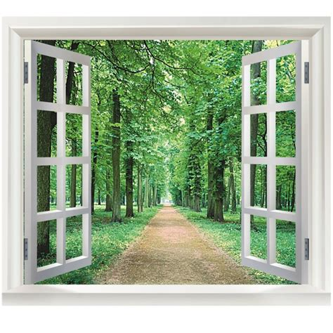 green woods 3d window diy vinyl wall stickers home decor