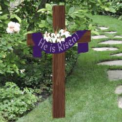 he is risen easter yard cross outdoor nativity store