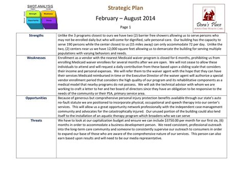 Calam 233 O Adult Day Care Swot Analysis And Sle Initial Strategic Plan Healthcare Strategic Plan Template