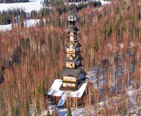 houses in alaska alaska s dr seuss house is a whimsical tower made of stacked cabins inhabitat