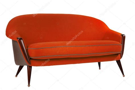 antique red sofa style red sofa sixties style antique isolated on white