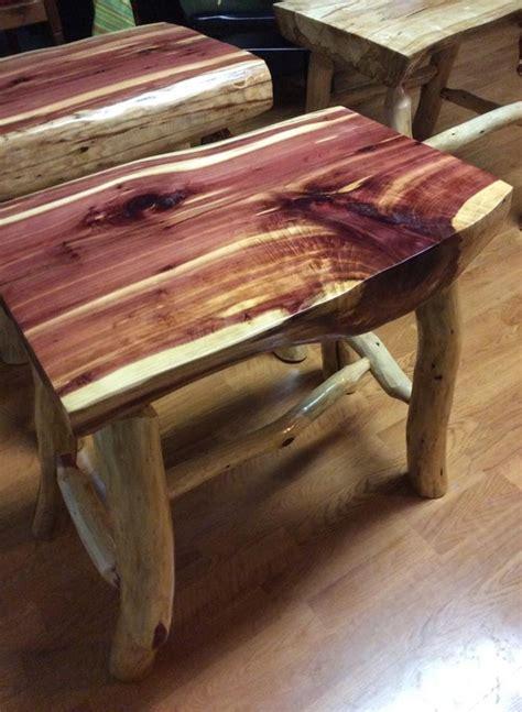 childs or garden bench cedar log pecan legs by jamesrobinson the ninth child woodworking