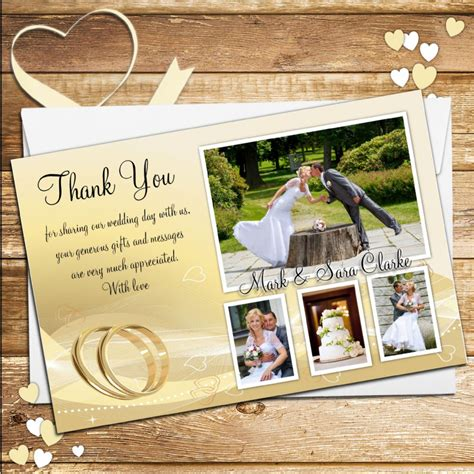Wedding Cards Designer Vacancy by 10 Personalised Gold Rings Wedding Day Thank You Photo