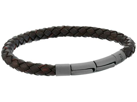 Fossil Bracelet fossil braided leather cord bracelet at zappos