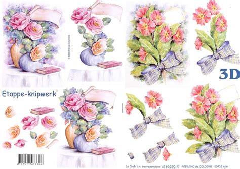 Decoupage Paper Flowers - flower bouquets 3d decoupage sheet