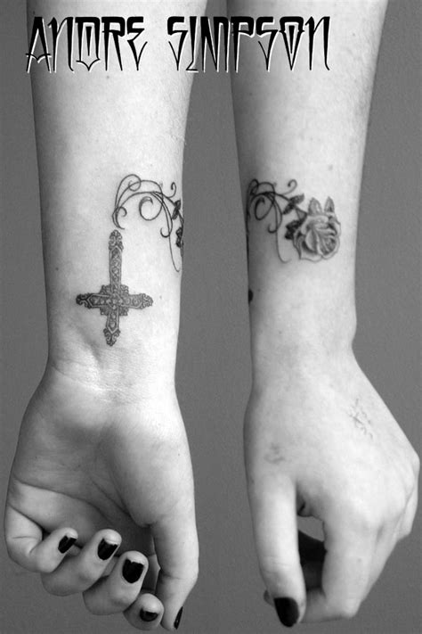 Cross Vines And Rose Tattoo Design Pictures