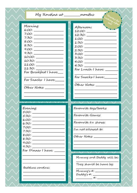 printable babysitter note sheet babysitter notes
