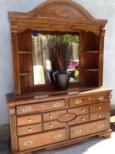 wood bedroom set headboard large dresser with