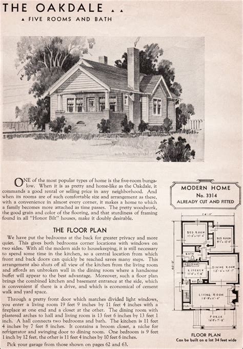 Sears And Roebuck House Plans 1936 Sears Kit Homes Oakdale Modern Bungalow Small House Plan