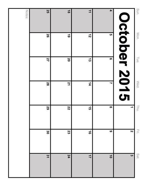2015 calendar blank template october 2015 printable calendar template 2016