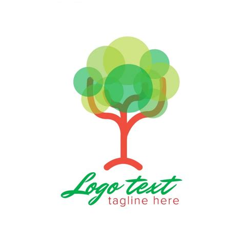 Logo With Abstract Tree Made With Circles Vector Free Download Abstract Green Tree Logo Vector Free