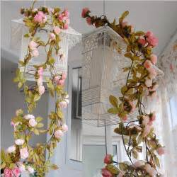 Floral Decorations For Home Wedding Decoration Artificial Fake Silk Rose Flower Vine