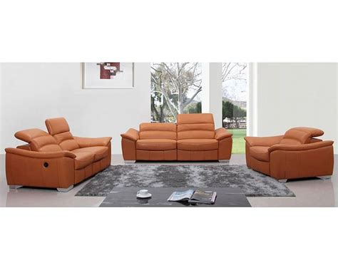 Italian Leather Sofa Sets Modern Orange Italian Leather Sofa Set W Recliners 44l5405