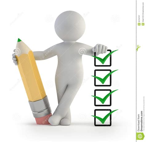 Check Person Background 3d Small Pencil And Check Stock Illustration Illustration Of Graphics List