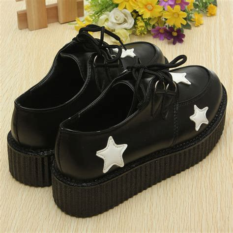 Artmu Retro Shoes Flat - retro platform lace up flat creepers shoes