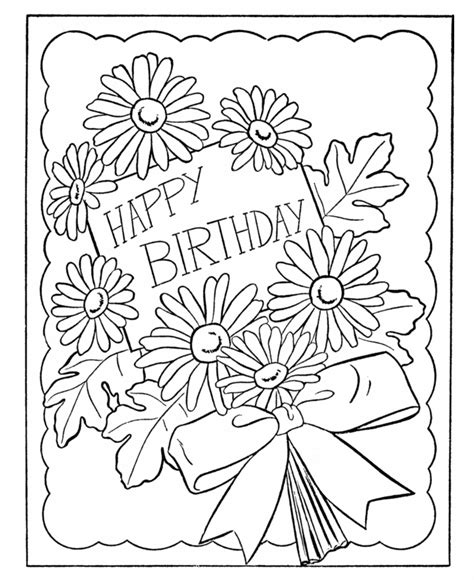printable flowers for cards birthday coloring pages birthday card flowers diy