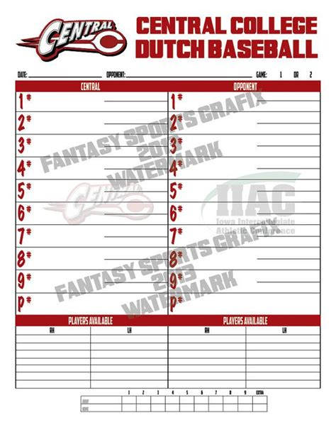 dugout lineup card template baseball team dugout lineup cards